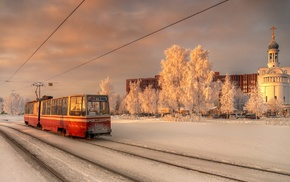tram, St. Petersburg, city, evening, snow, winter