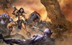 girl, artwork, fantasy art, warrior
