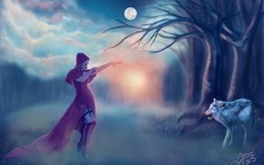 artwork, fantasy art, wolf, girl
