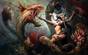 artwork, fantasy art, warrior, creature