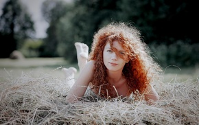 looking at viewer, model, curly hair, barefoot, hair in face, redhead