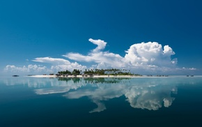 sea, water, clouds, island, reflection, palm trees