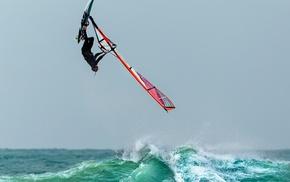 sport, sea, waves, windsurfing, water