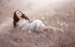 model, girl, girl outdoors, field
