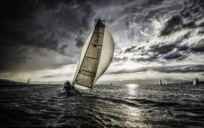 sports, sea, sailing, water