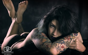 girl, tattoo, ass, lying on front, topless, black hair