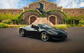 Italy, horse, Ferrari, statue, car, black cars