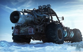 nature, digital art, wheels, vehicle, monster trucks, snow