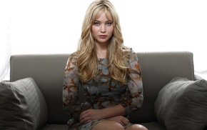 actress, Jennifer Lawrence, girl, couch, sitting, looking at viewer