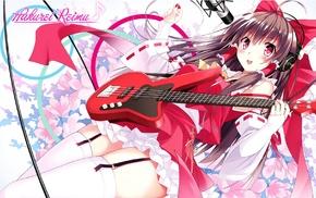 anime, miko, zettai ryouiki, Hakurei Reimu, red ribbon, Touhou