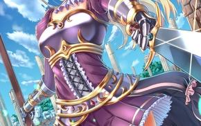 armor, anime girls, anime, sword, original characters