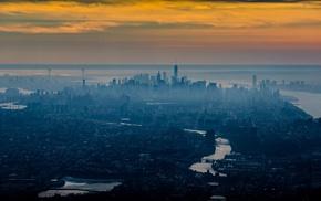 mist, cityscape, urban, water, New York City, sea