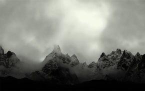 photography, monochrome, mountains, landscape, mist, nature