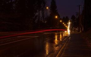 long exposure, photography, rain, city, lights, trees
