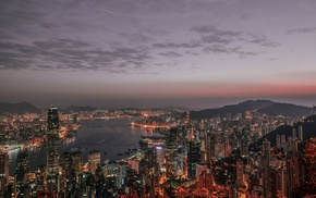 cityscape, photography, Hong Kong, city, sea, dusk