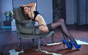 girl, black lingerie, arched back, black stockings, high heels, sitting