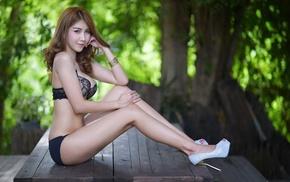 girl, table, Asian, model, high heels, bra