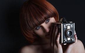 camera, model, girl, redhead, face