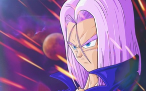Trunks character, Dragon Ball, Dragon Ball Z, anime, violets, space