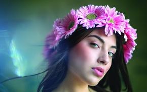 flowers, model, portrait, girl, wreaths