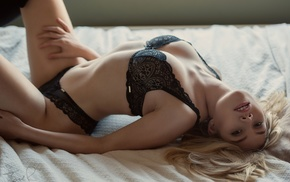in bed, looking at viewer, Scarlett Jane, girl, black bras, model
