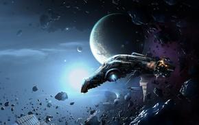 spaceship, artwork, science fiction