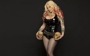 blonde, sabrina sabrok, girl, model, latex, skull