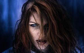 girl, face, portrait, blue, model