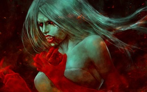 vampires, fantasy art, blood, artwork