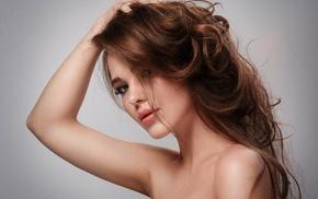 juicy lips, girl, hands in hair, portrait, brunette, face
