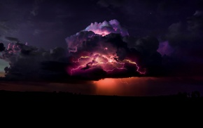 night, digital art, clouds, storm