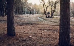 girl, landscape, model, trees, girl outdoors, violin