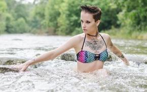 girl, tattoo, short hair, girl outdoors, model, river