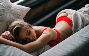in bed, ass, smoky eyes, girl, model, Aleksey Trifonov