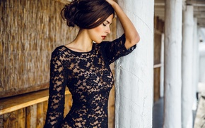 see, through clothing, depth of field, closed eyes, brunette, girl