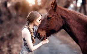 braids, kissing, model, profile, girl, horse