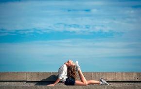 blue, model, girl outdoors, girl, urban