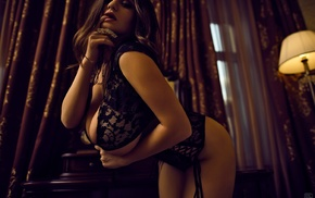corset, lace, ass, sideboob, Aleksandr Lishchinskiy, big boobs