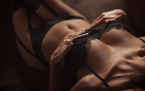 lace, tanned, black bras, girl, stockings, legs together
