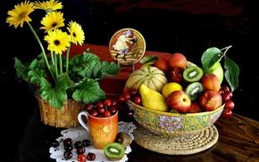 kiwi fruit, mugs, fruit, flowers, cherries food, flowerpot