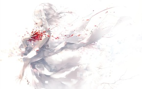 rose, original characters, white hair, white, white dress, petals