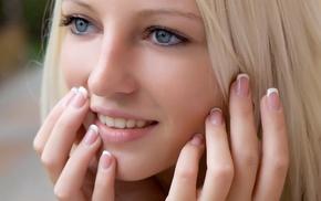 teeth, face, blue eyes, long hair, portrait, girl