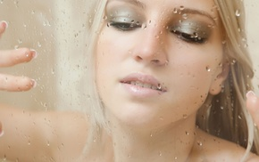 makeup, teeth, blonde, water drops, model, long hair