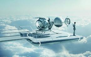 men, clouds, sky, movies, Tom Cruise, alone