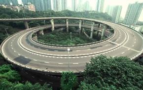 road, building, landscape, urban, trees, city