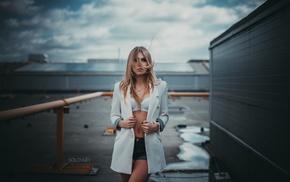 Solovbev, jean shorts, portrait, girl, Svetlana Ratmanova, blonde