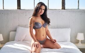 looking at viewer, in bed, 500px, lingerie, kneeling, girl