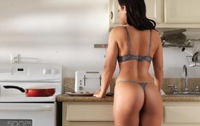 lingerie, ass, thong, 500px, girl, kitchen