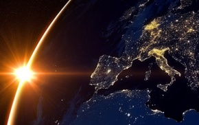 Europe, Earth, planet, lights