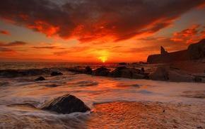 coast, sunset